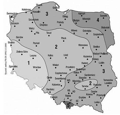 mapa strefy śniegowe