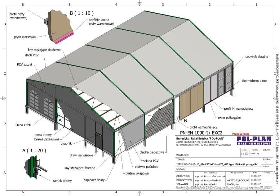 namiot magazynowy projekt
